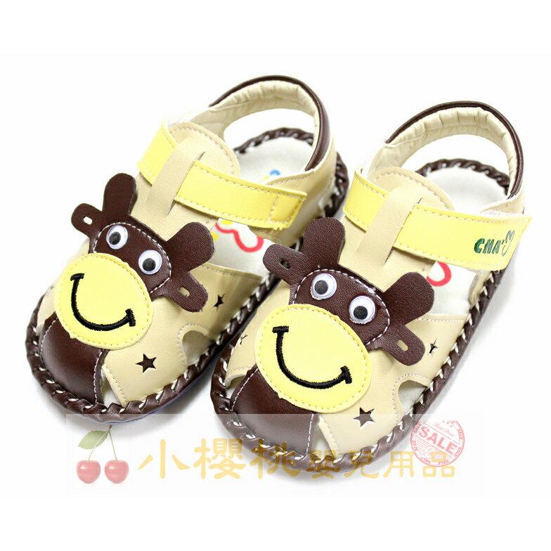 天鵝童鞋Cha Cha Two恰恰兔--小牛童鞋 學步鞋 涼鞋 咖啡色 台灣製造