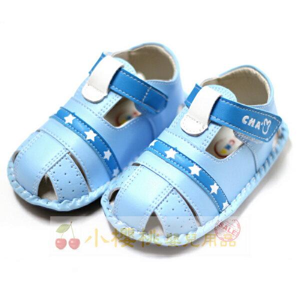 天鵝童鞋ChaChaTwo恰恰兔--小星星涼鞋學步鞋台灣製造藍色