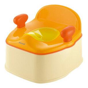 @小櫻桃嬰兒用品@Richell利其爾--Pottis 椅子型三階段便器 便盆 便座 馬桶座 橙色