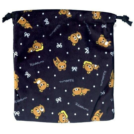 〔小禮堂〕懶懶熊 束口後背包《L.黑.多動作.點點滿版》可背可提