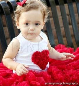 現貨!讓寶貝成為童話故事般的夢幻公主! 美國Chic Baby Rose手工雪紡愛心背心-Red豔紅(12-18)