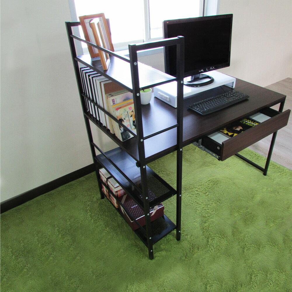 辦公桌 電腦桌 書桌【DCA017+DR】樂活雙向層架式多功能120*60大桌面附抽屜工作桌【5款可選】 Amos MIT 1