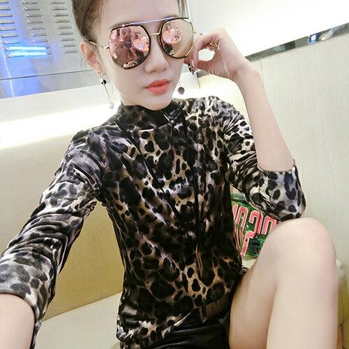 豹紋時尚半高領金絲絨T恤(2色M~3XL) 【OREAD】 1