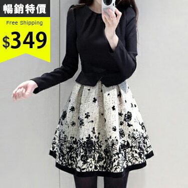 [現貨出清] 假兩件拼接長袖印花洋裝 (圖片色,S-2XL) - 梅西蒂絲(現貨+預購)