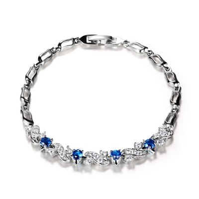 925純銀手鍊 水晶手環 ~ 奢華典雅大方母親節生日情人節 女飾品6色73fg5~ ~~米