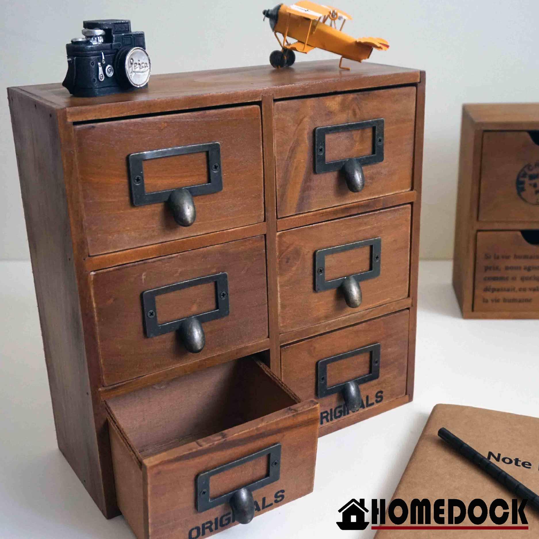 HOMEDOCK-原木質感6格整理收納櫃 六層/六格/木櫃/置物櫃/原木製/層格櫃/抽屜/Zakka/木櫃