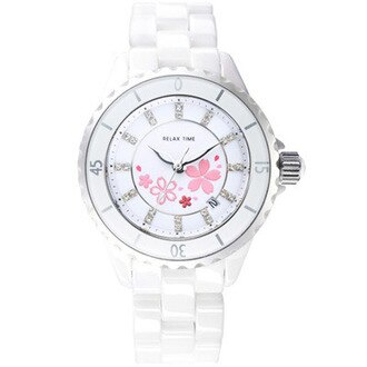 RELAX TIME優雅陶瓷腕錶-櫻花(RT-09-1) 34.2mm