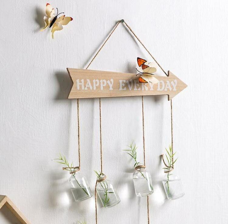 居家掛飾玻璃水培植物花瓶裝飾品掛件房間臥室牆面掛飾  聖誕節狂歡購