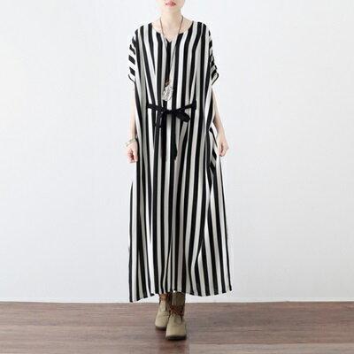 連身長裙寬版連衣裙-時尚黑白條紋雪紡女上衣73sm28【獨家進口】【米蘭精品】