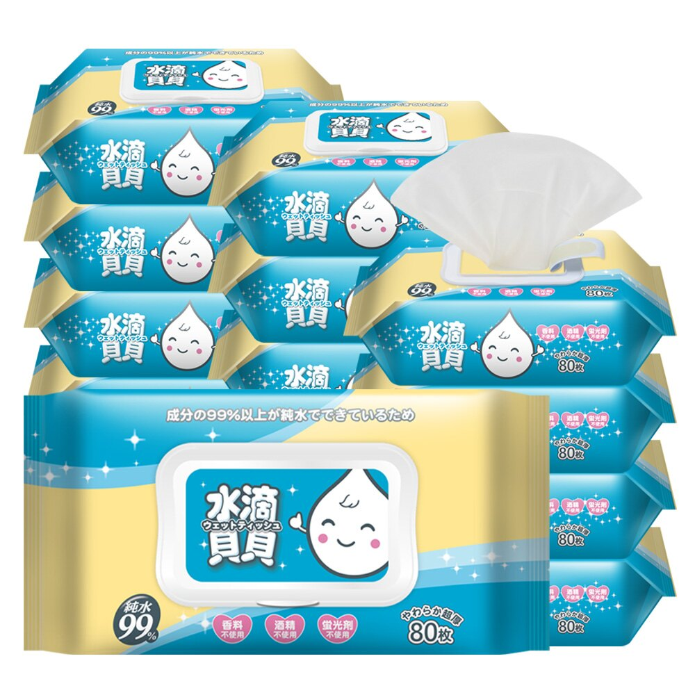 【領券現折$60】水滴貝貝超厚純水柔濕巾80抽(附蓋)x20包/箱[奈森克林旗艦館]