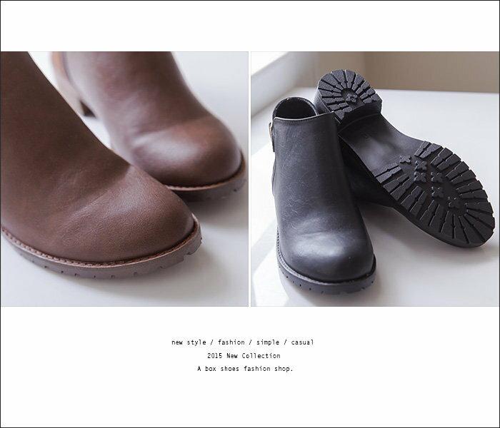 格子舖*【KW855】MIT台灣製 個性質感皮革拼接麂皮金屬素面扣環低跟小短靴 工程靴 2色 2