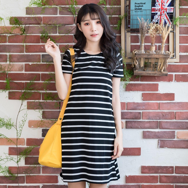 連衣裙--優雅休閒風格經典橫條紋口袋修身百搭圓領短袖洋裝(黑.紅.綠M-2L)-D517眼圈熊中大尺碼 2