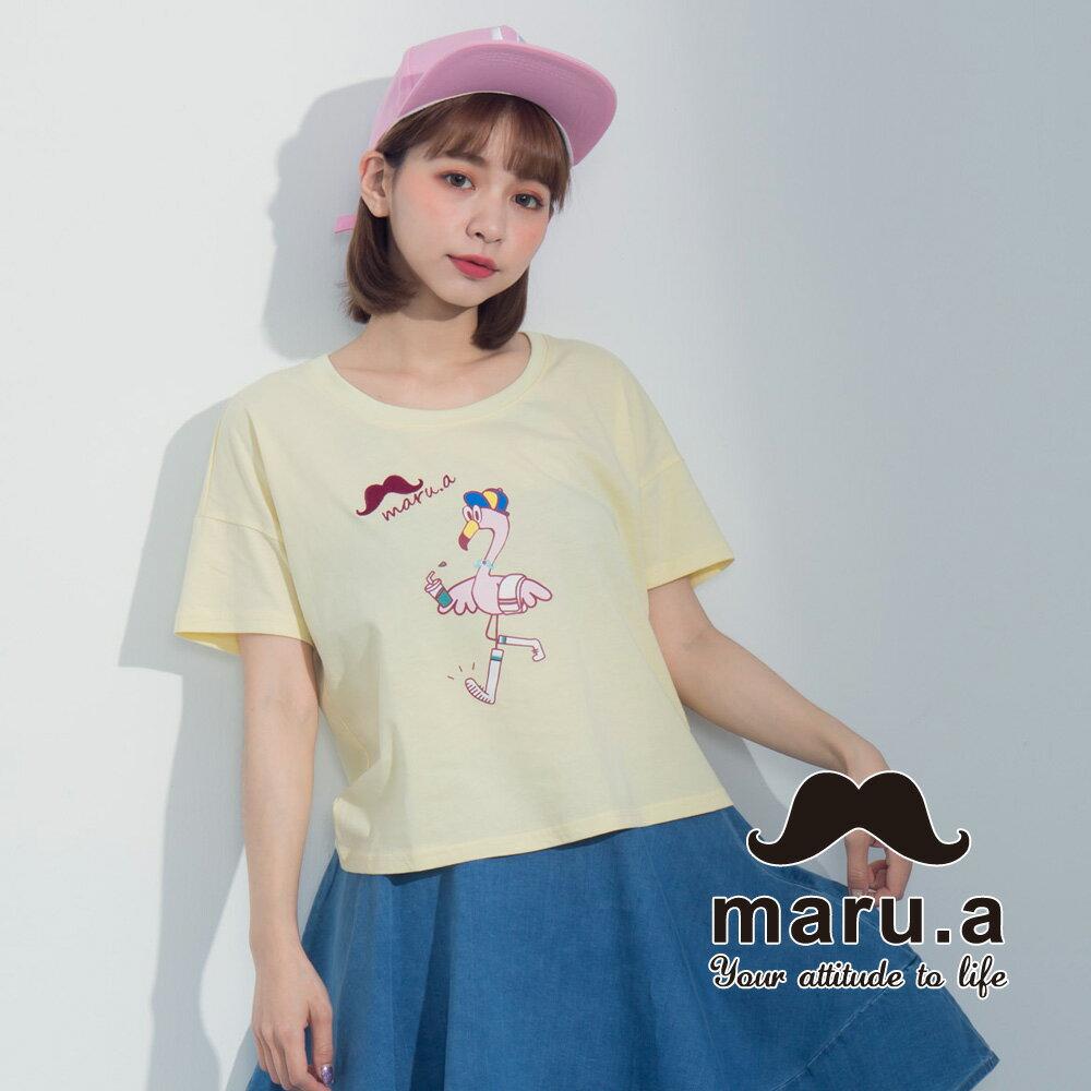 【maru.a】手繪紅鶴印花T-shirt7321237 0