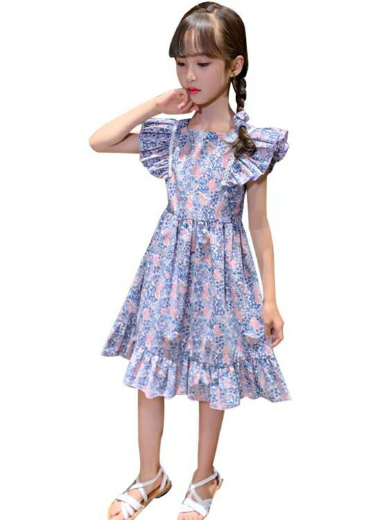 女童洋裝 女童連身裙夏裝2021新款韓版兒童超洋氣格子公主裙小女孩夏季裙子
