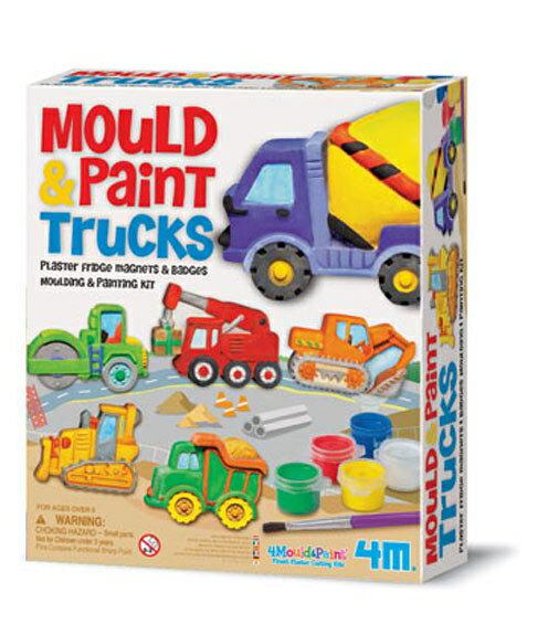 【 4M 美勞創作】Mould & Paint Glitter Springtime Friends 建築工程車磁鐵