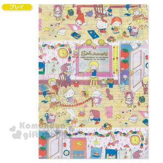 〔小禮堂〕Sanrio大集合 日製L型文件夾《A4.黃.居家狂歡》Sanrio55週年紀念系列第二彈