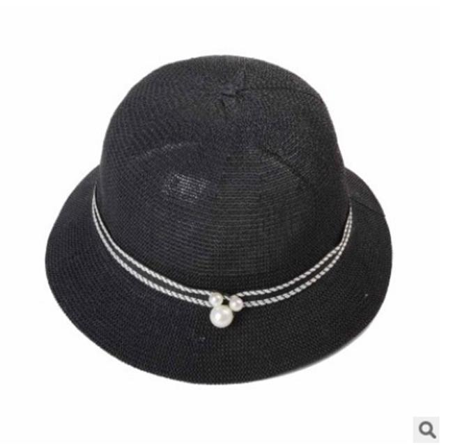 50%OFF【E013120SWH】韓版春夏英倫風珍珠米奇圓頂草帽女士小沿盆帽遮陽度假沙灘帽