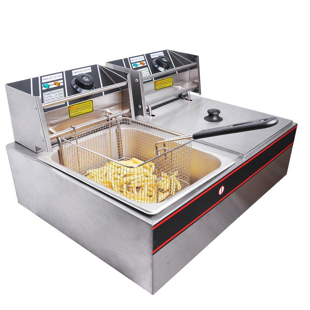 12L Electric Dual Tank Deep Fryer 5000W Commercial Restaurant Kitchen  Countertop Equitment