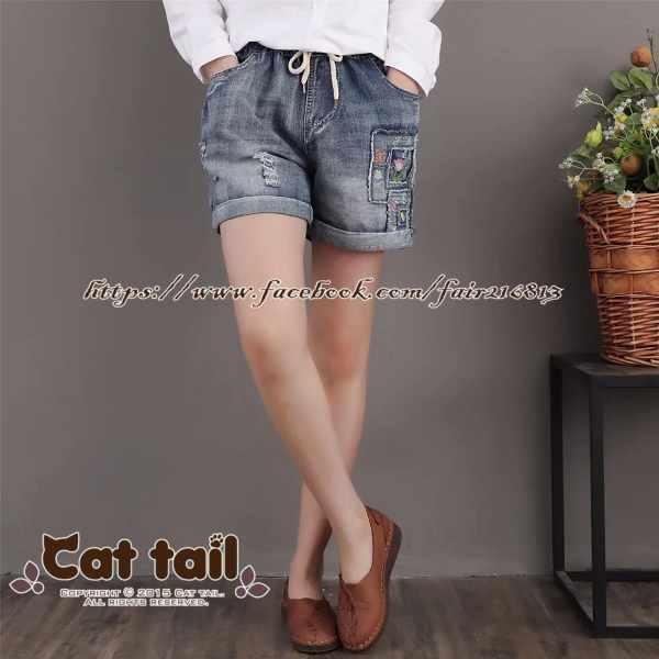 《貓尾巴》CH-02002日系花朵刺繡貼布牛仔短褲(森林系日系棉麻文青清新)