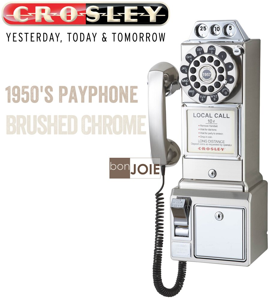 ::bonJOIE :: Crosley 經典懷舊投幣式復古電話機 (銀色) 復古電話 經典電話 懷舊電話 復古風格 美式鄉村 工業風 壁掛電話