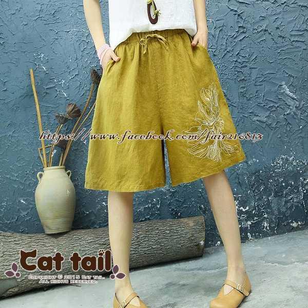 《貓尾巴》JP-01892中國風精緻刺繡寬鬆五分褲(森林系日系棉麻文青清新)