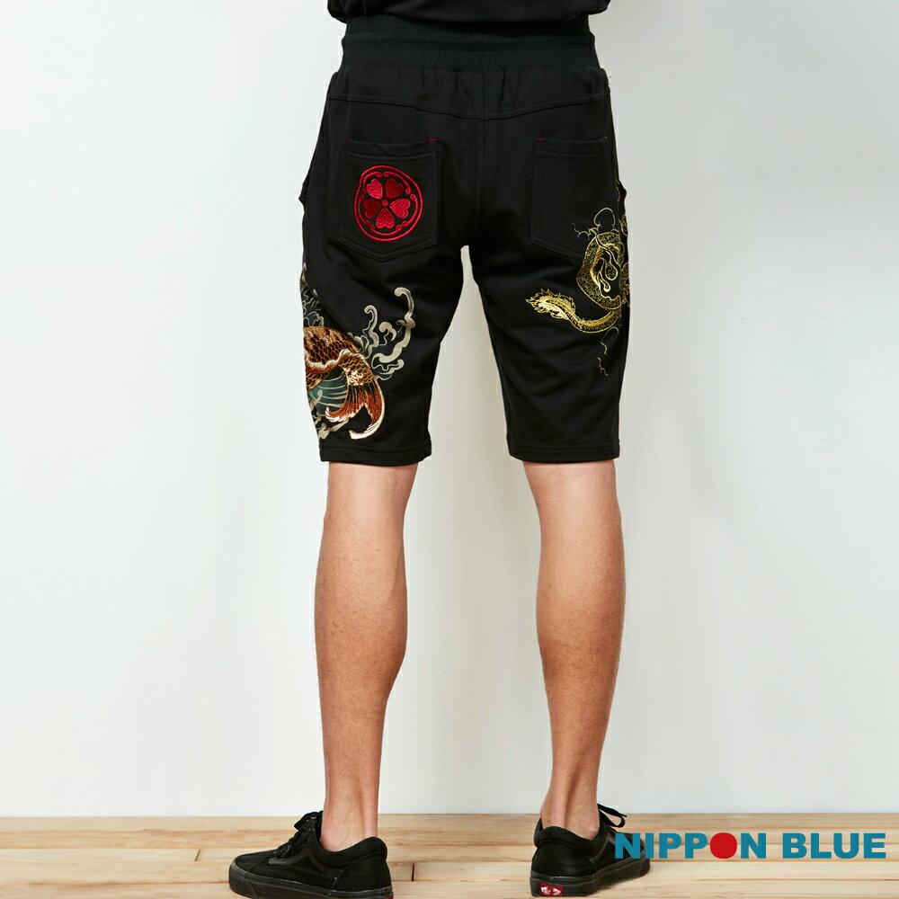 【春夏新品】泥棒藍-祥鯉龍紋精繡棉短褲 - BLUE WAY  NIPPON BLUE日本藍 2
