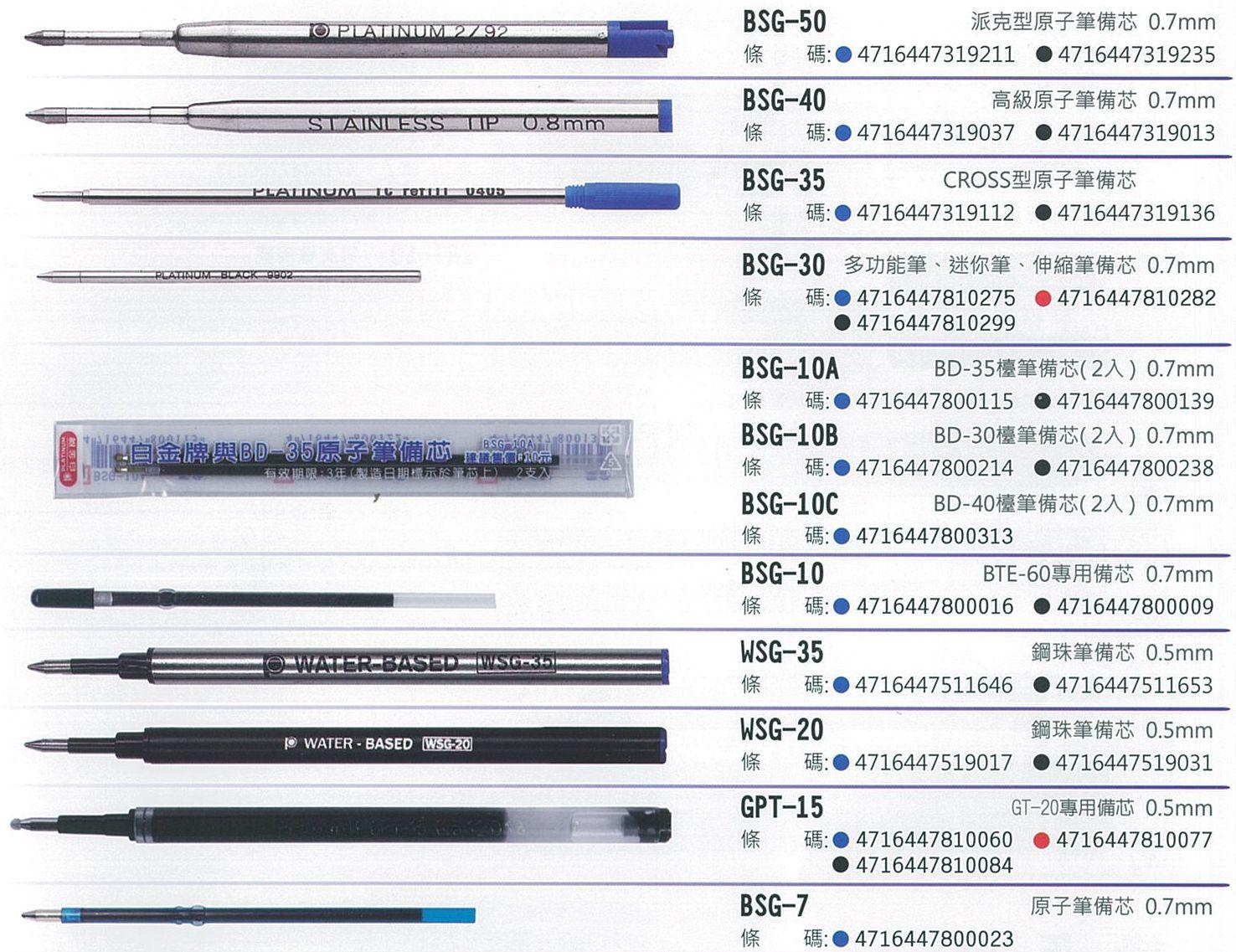 【文具通】PLATINUM 白金牌 BSG 原子筆芯 鋼珠筆芯 替芯 S1010052