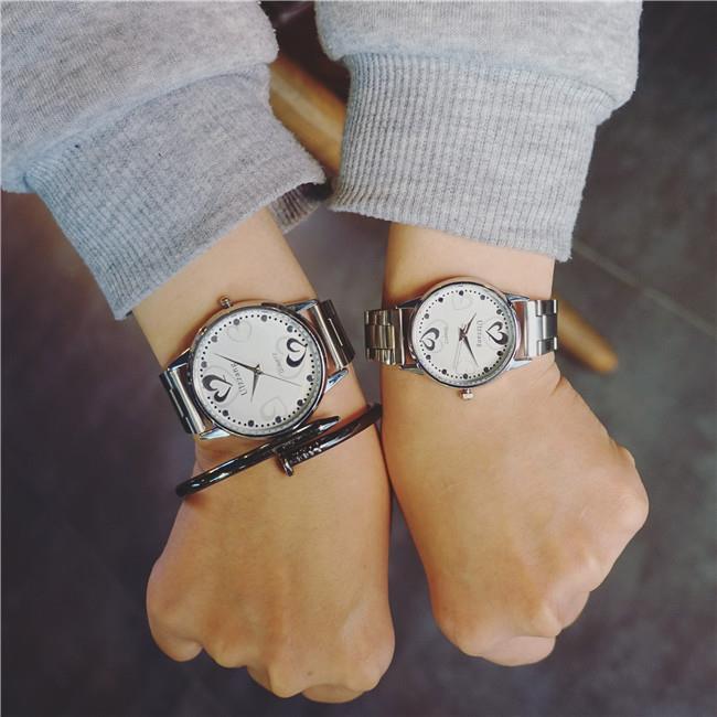 50%OFF SHOP【H022136WAH】正品韓版非機械鋼帶潮男女士情侶手錶一對簡約時尚心形防水學生款