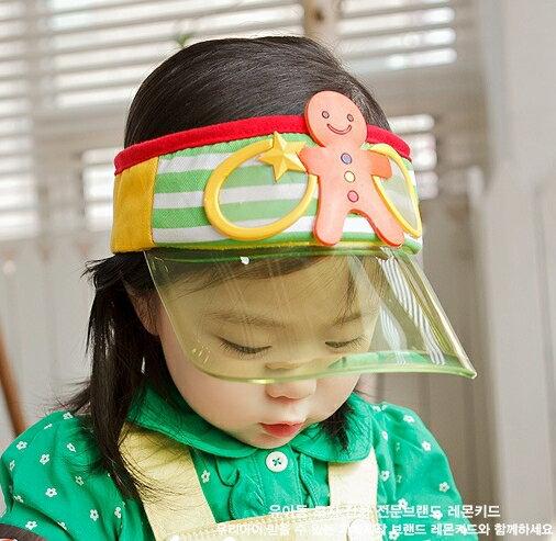 Lemonkid◆趣味可愛薑餅人餅乾玩偶條紋好視線兒童防曬遮陽空頂帽-綠色帽檐