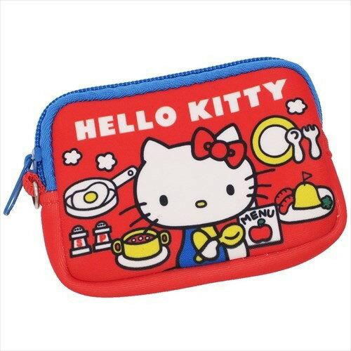 【真愛日本】17112100009 彈力潛水布方錢包-KT日常紅 三麗鷗 kitty 凱蒂貓 日用品 零錢包 收納小包