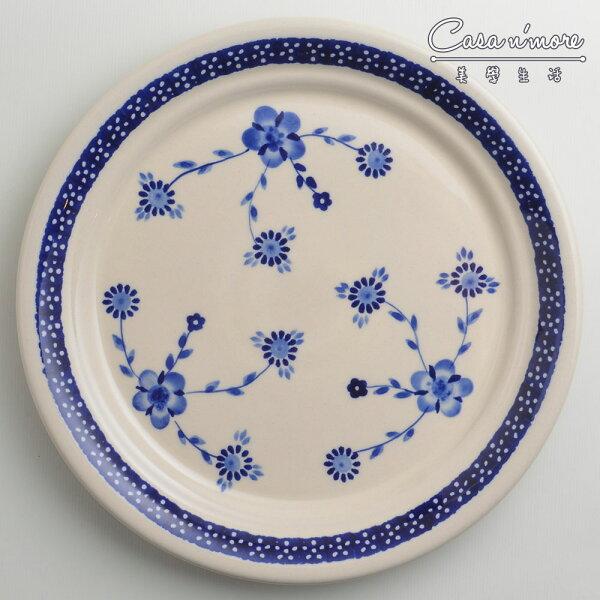 波蘭陶歐式青花系列圓形餐盤陶瓷盤菜盤點心盤圓盤沙拉盤25cm波蘭手工製