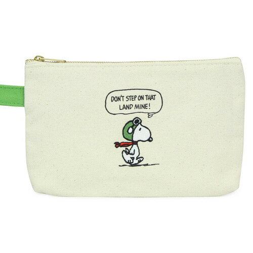 飛行員款【日本進口正版】史努比 Snoopy 帆布 扁型 筆袋 鉛筆盒 收納袋 PEANUTS - 830996