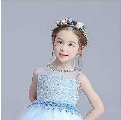 天使嫁衣~童CP29~藍色花片珠子綁帶 頭飾花環˙ 訂製款