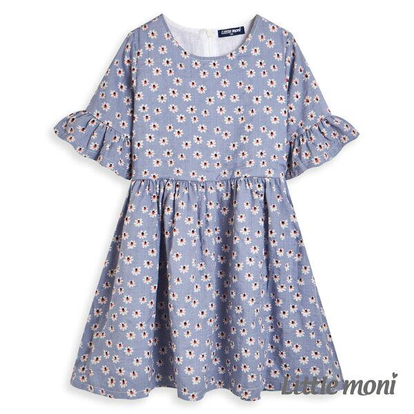 Littlemoni碎花荷葉袖洋裝-亮天藍