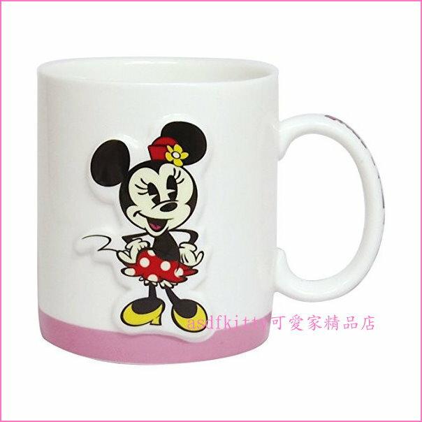 asdfkitty可愛家☆迪士尼米妮立體造型陶瓷馬克杯-日本正版商品