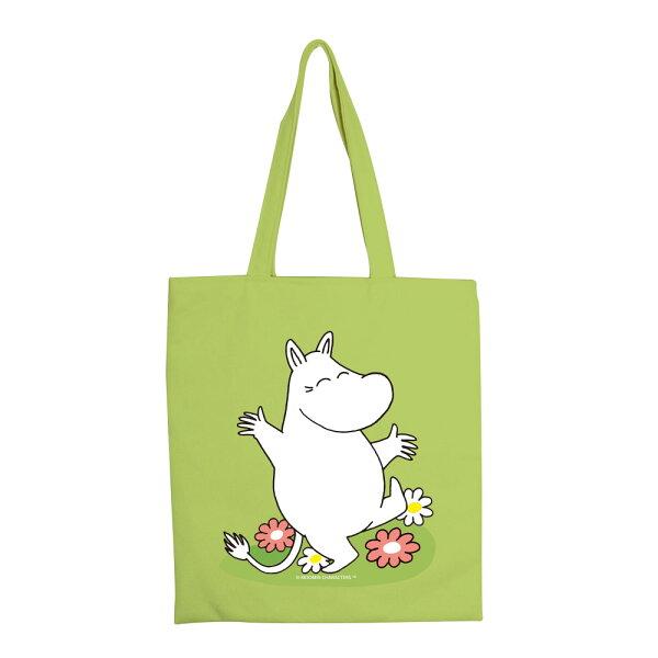 【嚕嚕米Moomin】彩色手提購物包-花漾(果綠卡其)