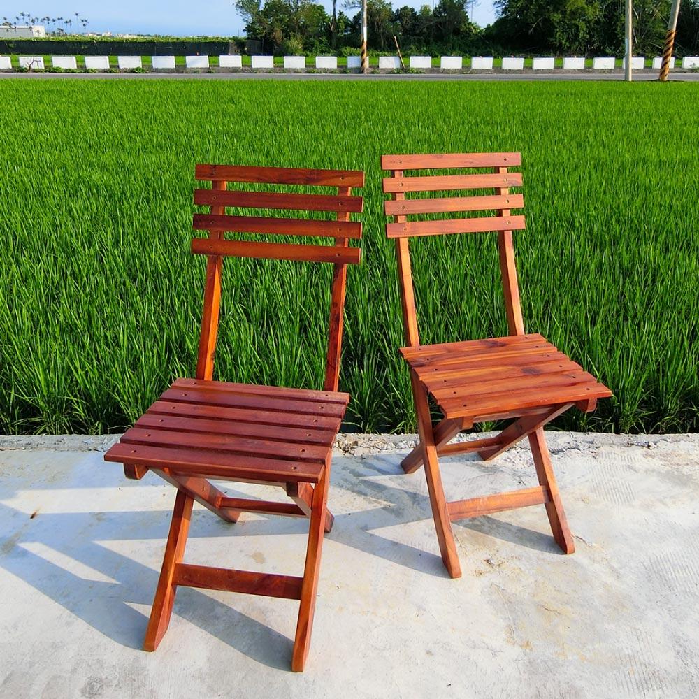戶外/園藝/南洋休閒折疊椅 【YAA003】庭院休閒實木折疊椅(2入)Amos
