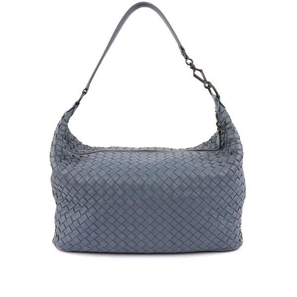 【BV/ BOTTEGA VENETA】單把小羊皮肩背手提包(灰藍色) BV11100023