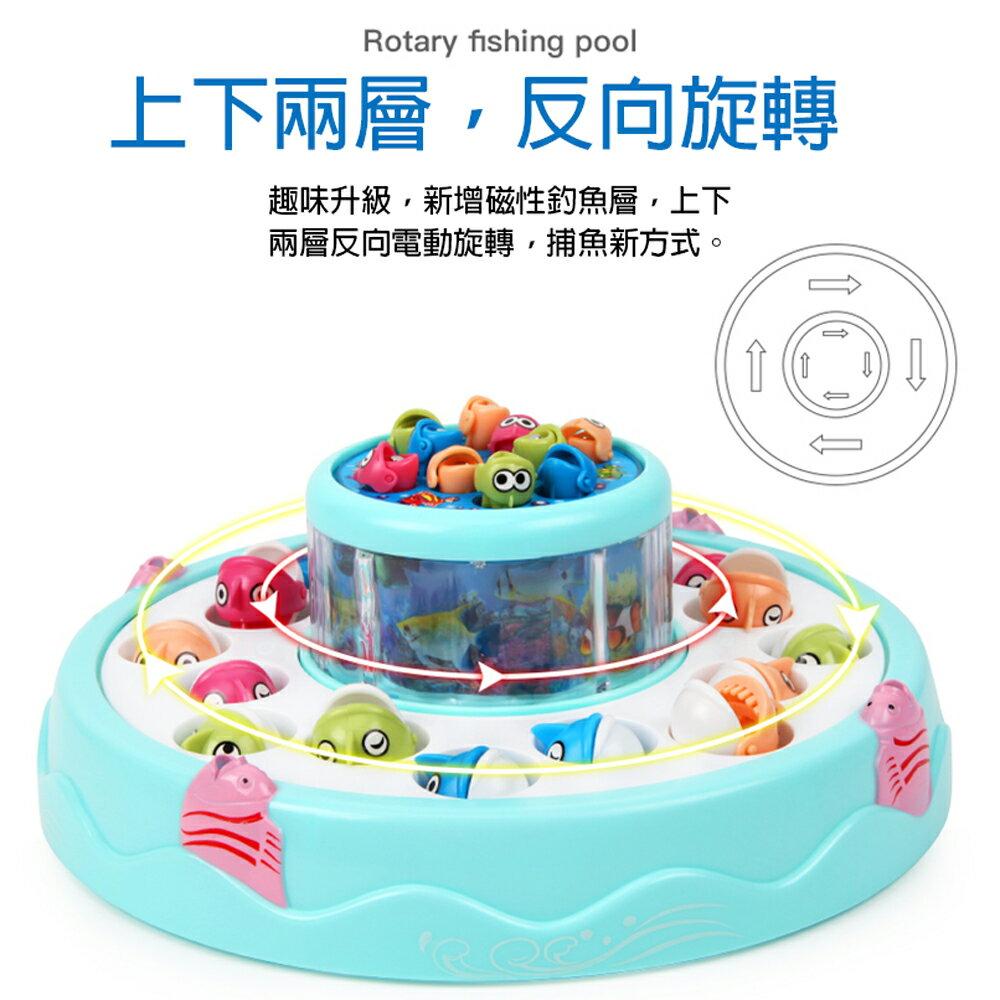 【GCT玩具嚴選】GOGO旋轉釣魚盤 聲光效果雙層釣魚盤桌遊