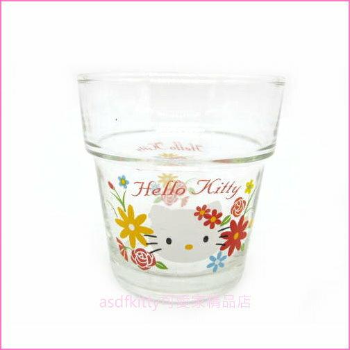 asdfkitty可愛家☆KITTY小雛菊曲線玻璃杯水杯酒杯-有可當擺飾或放小飾品-日本正版商品