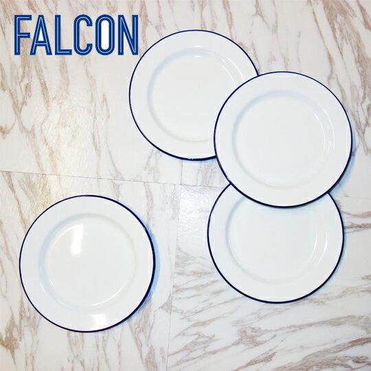 Falcon 琺瑯餐盤 24cm 4入組 圓盤 淺盤 藍白
