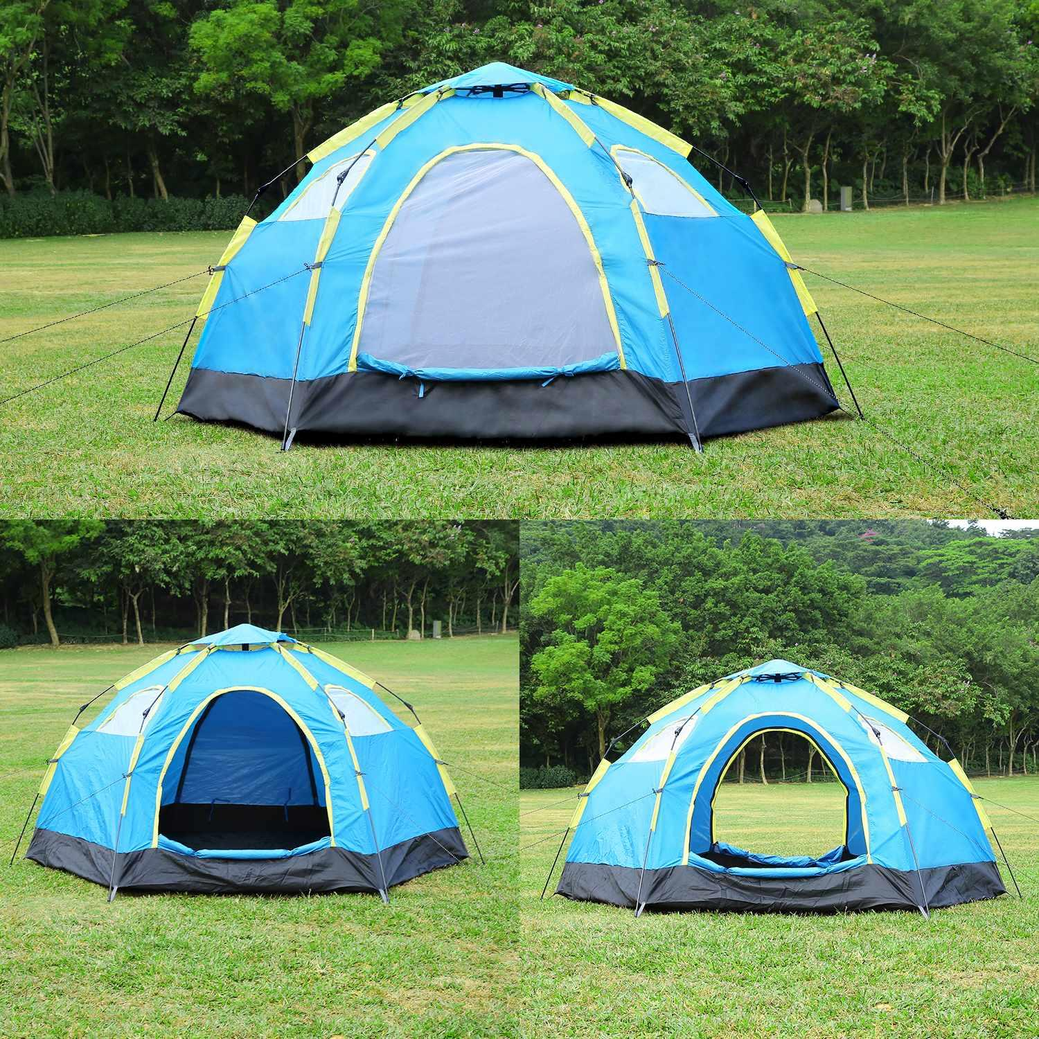 5-8 Person Waterproof Polyester Automatic Pop Up Portable Camping Hiking Tent Carry Bag 4