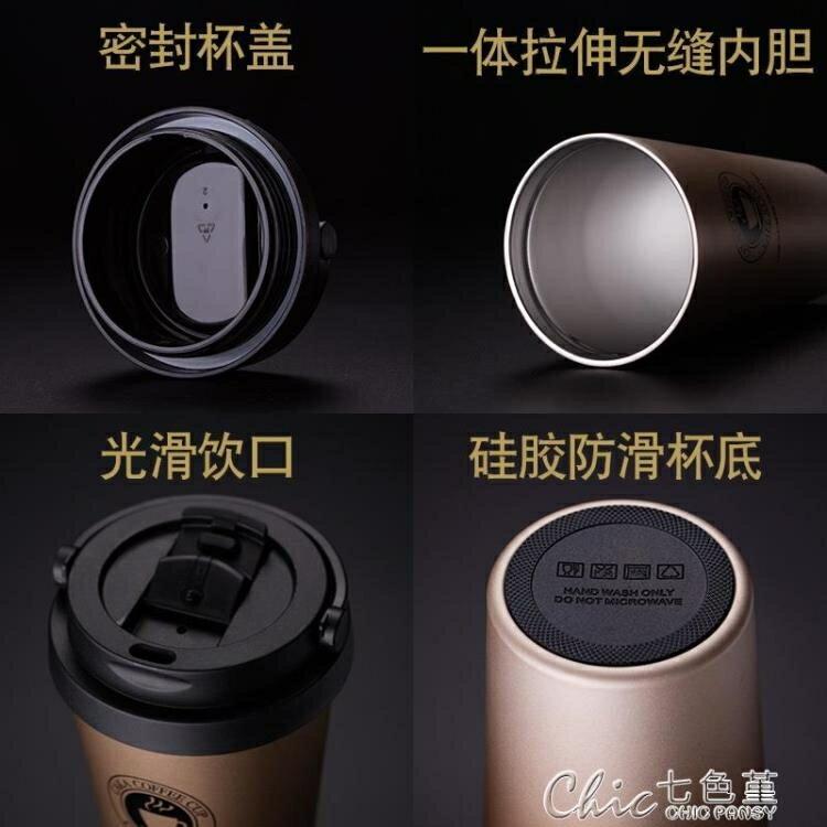 保溫咖啡杯  創意杯子不鏽鋼水杯馬克杯女學生帶蓋勺咖啡杯保溫杯   城市玩家