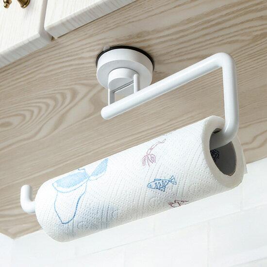 ♚MYCOLOR♚真空吸盤紙巾掛架廚房免打孔強力黏膠浴室毛巾架防水壁掛捲紙筒【J90-1】
