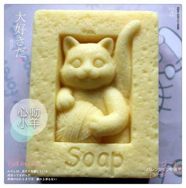 心動小羊^^DIY手工皂工具矽膠模具肥皂香皂模型矽膠皂模藝術皂模具招財貓(超立體單孔)