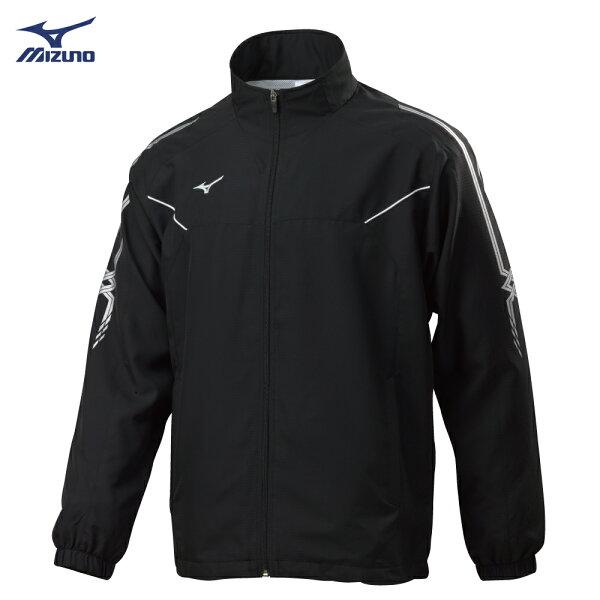 32TC808509(黑X黑)男平織運動外套【美津濃MIZUNO】