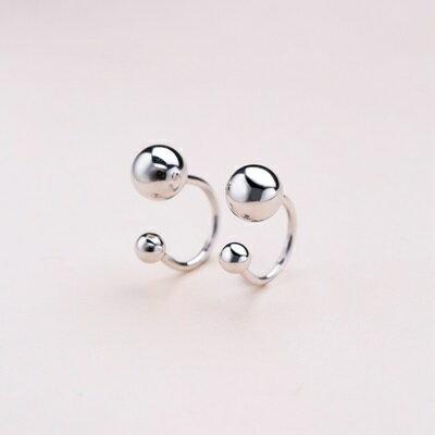 925純銀耳環雙珠耳扣-光面圓珠夾式時尚女飾品73ql6【獨家進口】【米蘭精品】