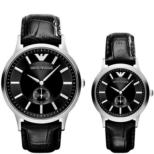 EMPORIO ARMANI/AR9100小秒針情人對錶腕錶/白面43+32mm