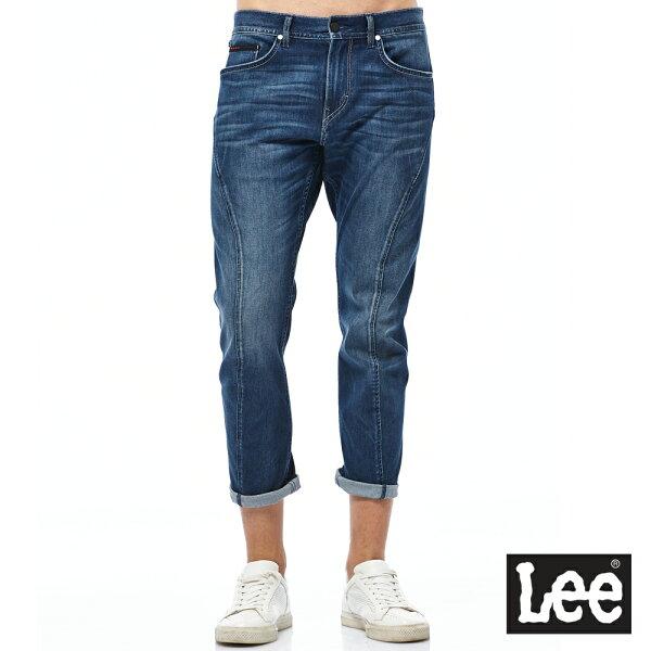 Lee755七分低腰3D標準牛仔褲-男款-藍