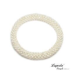 大東山珠寶 雪白禮讚 天然珍珠手環 歐美古典編織珠寶